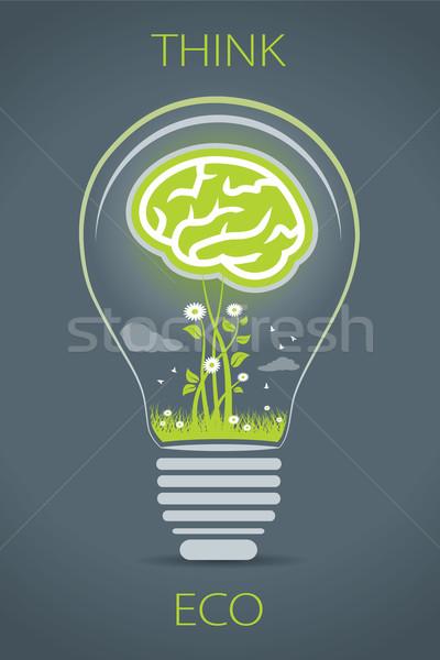 Eco lamp illustratie groene hersenen binnenkant Stockfoto © penivajz