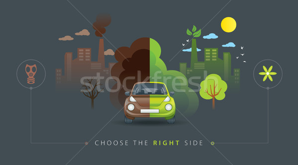Groene bruin half auto illustratie stad Stockfoto © penivajz
