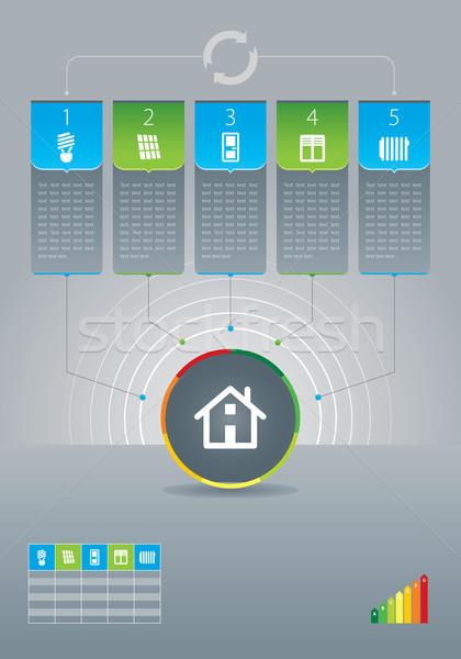 Energie-efficiëntie illustratie huis ontwerp home venster Stockfoto © penivajz