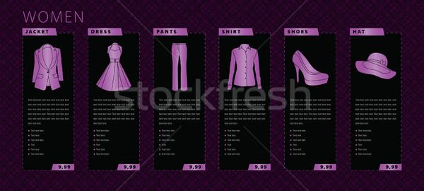 Vrouwen kleding illustratie jas jurk pants Stockfoto © penivajz