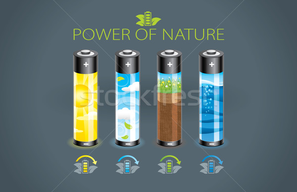 エコ バッテリー 実例 4 電源 自然 ストックフォト © penivajz