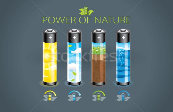 Eco batterij illustratie vier macht natuur Stockfoto © penivajz