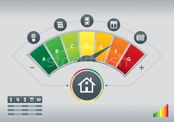 Energie-efficiëntie illustratie iconen huis grafiek ontwerp Stockfoto © penivajz