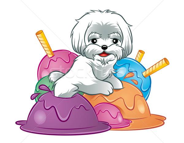 Hond puppy icecream illustratie cute witte Stockfoto © penivajz