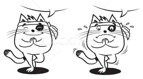 Namaste macska pozició illusztráció feketefehér Stock fotó © penivajz