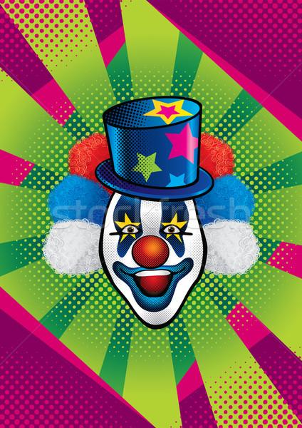 Clown illustratie glimlachend Blauw hoed sterren Stockfoto © penivajz