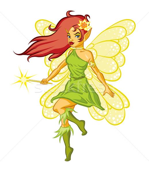森林 妖精 実例 魔法の杖 花 少女 ストックフォト © penivajz
