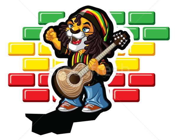 Reggae oroszlán illusztráció gitár Jamaica sapka Stock fotó © penivajz