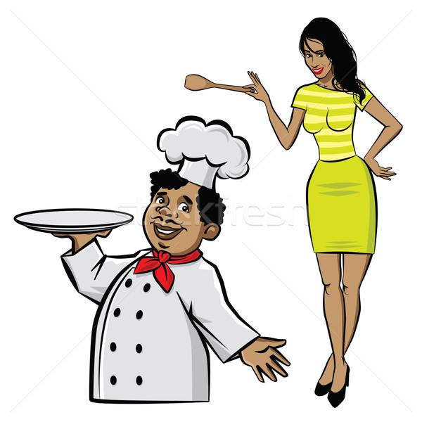 Kok chef illustratie plaat vrouw spatel Stockfoto © penivajz