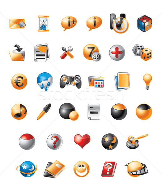 Mobiele iconen illustratie cute telefoon boek Stockfoto © penivajz