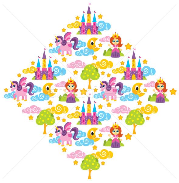 Prinses patroon illustratie boom kasteel Stockfoto © penivajz