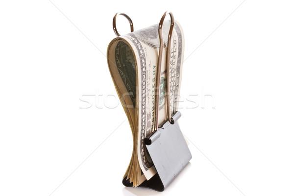 Stockfoto: Dollar · paperclip · witte · kantoor · geld · teken