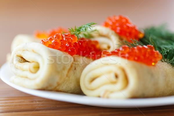 Rouge caviar plaque alimentaire poissons Photo stock © Peredniankina
