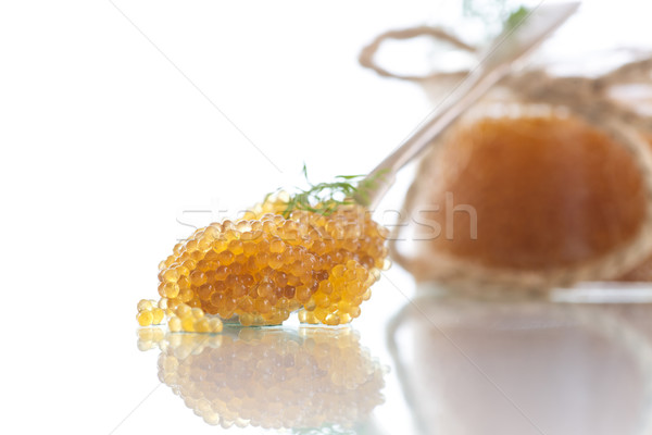 Kaviár üveg bögre asztal hal narancs Stock fotó © Peredniankina