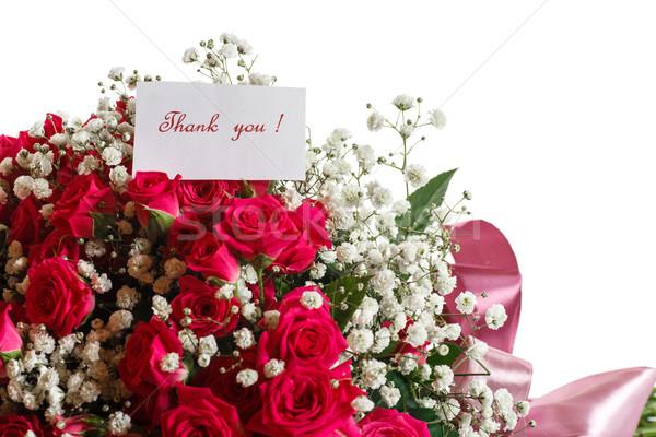 Virágcsokor vörös rózsák köszönet hála fehér rózsa Stock fotó © Peredniankina