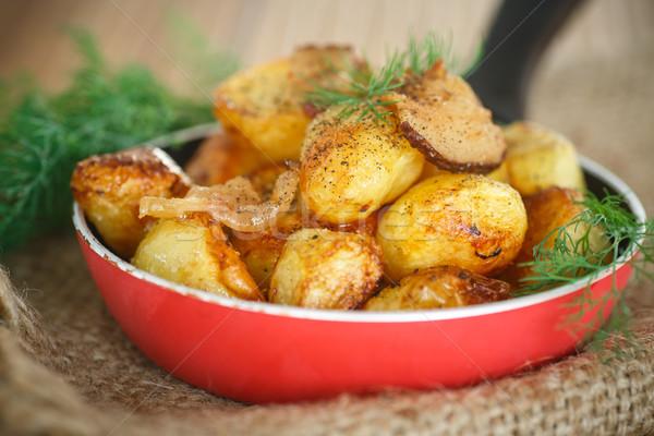 Stok fotoğraf: Patates · dilimleri · domuz · pastırması · tava · akşam · yemeği