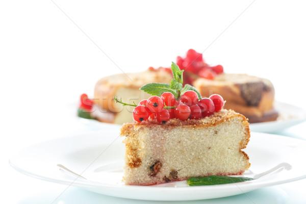Słodkie pudding jagody biały owoców tle Zdjęcia stock © Peredniankina