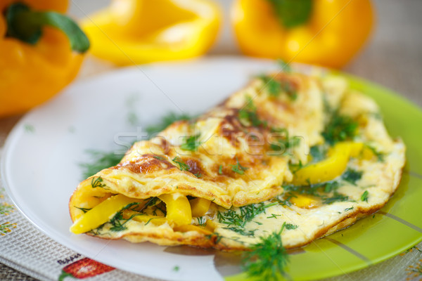 delicious omelet with peppers and herbs  Stock photo © Peredniankina