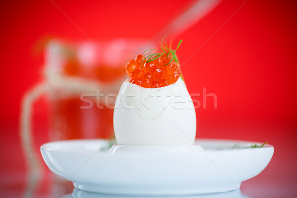 boiled egg with red caviar  Stock photo © Peredniankina