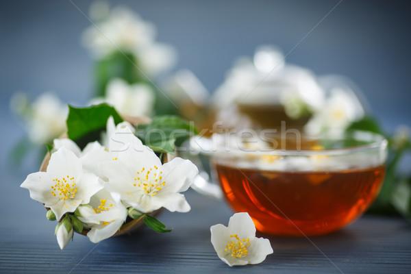 Stock fotó: Tea · teáskanna · ág · fa · asztal · virág · étel