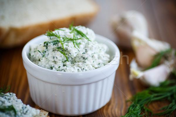 Tuzlu peynir otlar yaprak arka plan Stok fotoğraf © Peredniankina