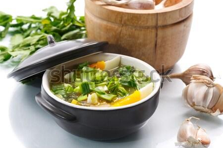 Zupa jarzynowa jaj biały zdrowia kuchnia Zdjęcia stock © Peredniankina