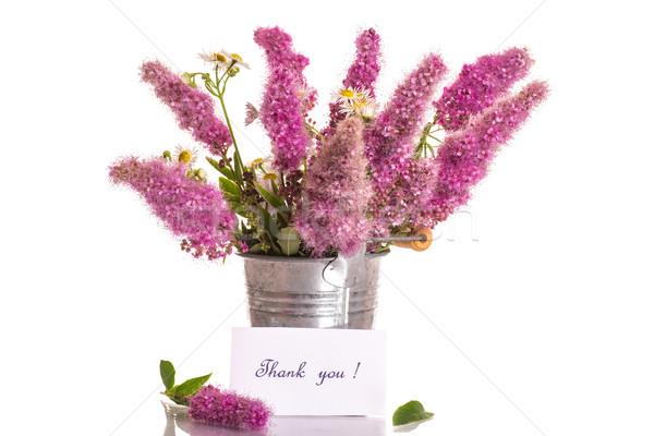 Köszönjük hála virágcsokor gyönyörű virágok fehér Stock fotó © Peredniankina