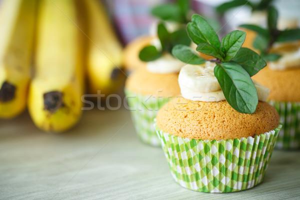 Plátano dulce rebanadas menta alimentos Foto stock © Peredniankina