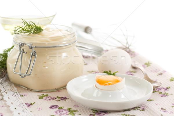 Foto stock: Mayonesa · cocido · casero · alimentos · blanco · vidrio