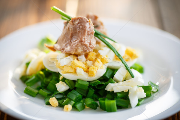 salad with cod liver oil, eggs and green onion  Stock photo © Peredniankina