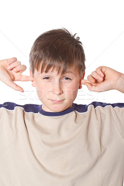 Zdjęcia stock: Chłopca · zamknięte · kłosie · biały · dzieci · twarz