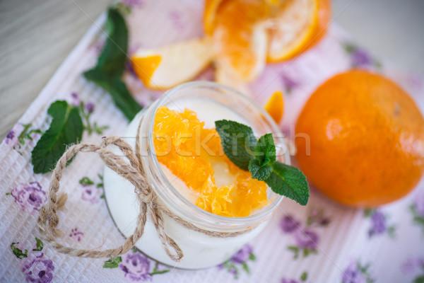 Stockfoto: Yoghurt · mandarijn- · sinaasappelen · home · zoete · vruchten