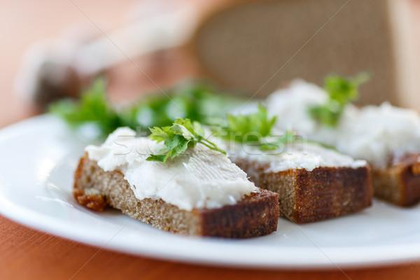 жареный тоста бекон пластина петрушка продовольствие Сток-фото © Peredniankina