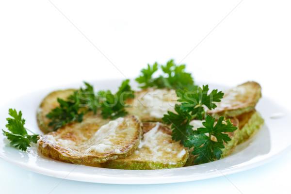 Sült cukkini mártás fehér étel háttér Stock fotó © Peredniankina