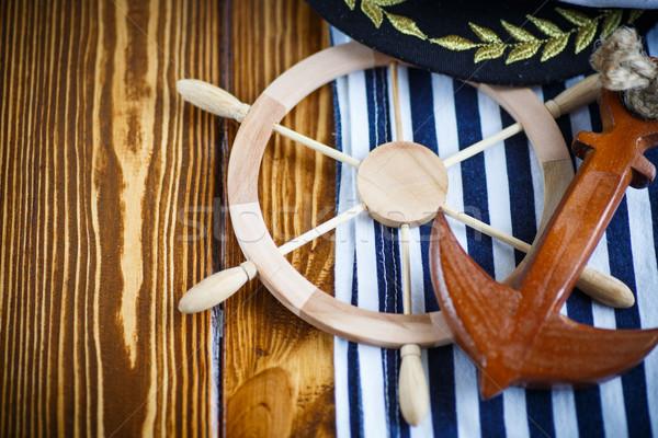 Dekoratív fából készült kormánykerék öreg fa asztal fa Stock fotó © Peredniankina