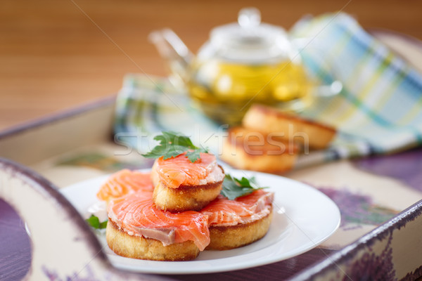 Fried toast with salted salmon Stock photo © Peredniankina