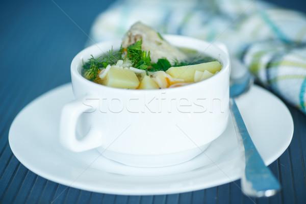 Brodo di pollo ciotola tavola alimentare blu Foto d'archivio © Peredniankina