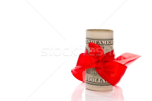 ストックフォト: ドル · 弓 · ギフト · 白 · お金 · にログイン