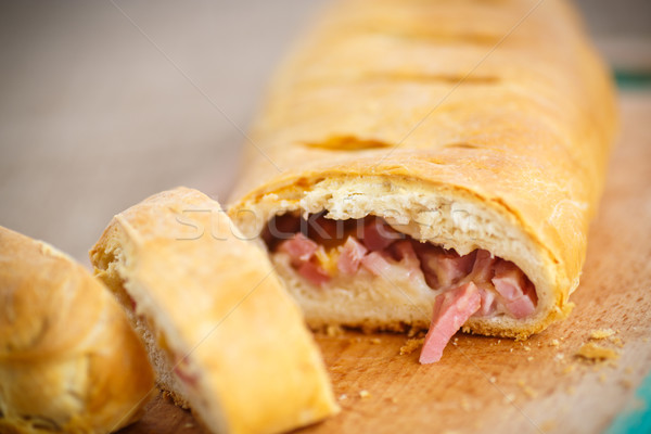 bread stuffed with cheese and bacon Stock photo © Peredniankina