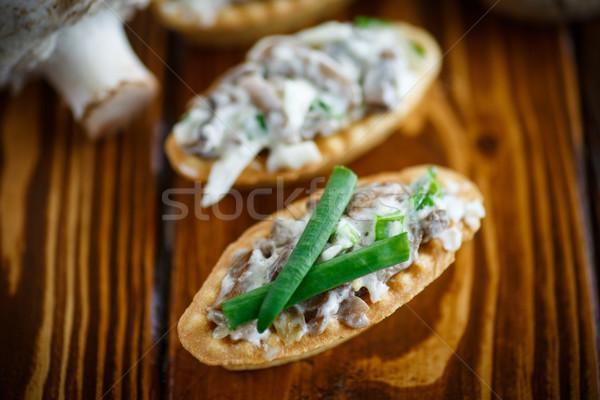 гриб начинка деревянный стол древесины таблице еды Сток-фото © Peredniankina