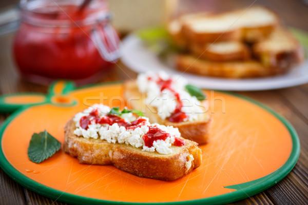 Frito brindis crema queso atasco dulce Foto stock © Peredniankina