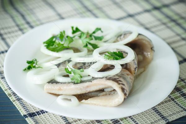 Sózott hagymák asztal kenyér tányér halászat Stock fotó © Peredniankina