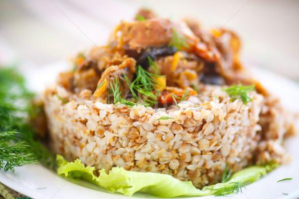 Gekookt kip gekookt voedsel plaat ontbijt Stockfoto © Peredniankina