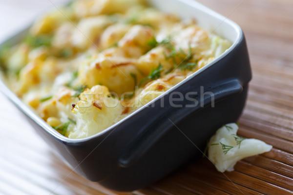 Couve-flor ovo queijo cozinha verde Foto stock © Peredniankina