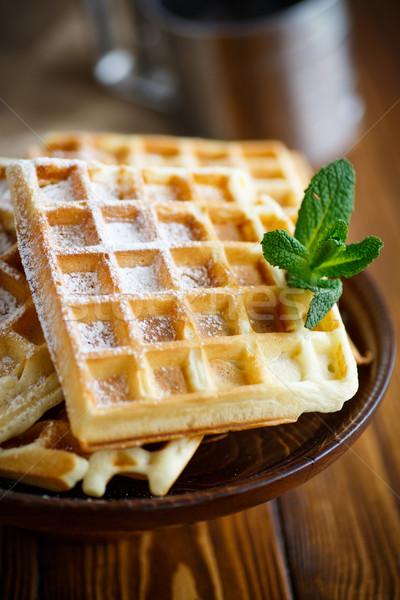Azúcar en polvo placa alimentos frutas desayuno frescos Foto stock © Peredniankina