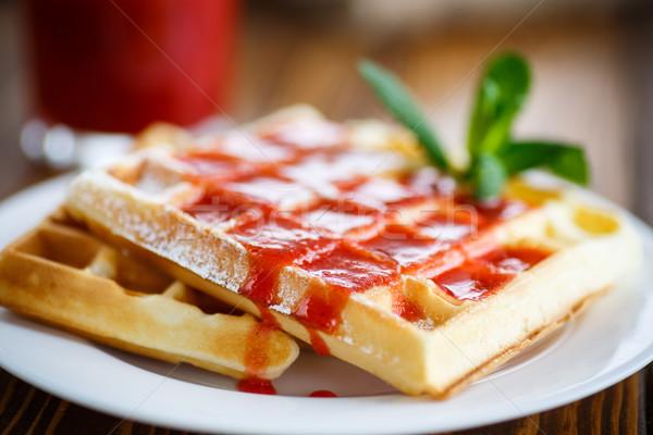 Viennese sweet waffles with strawberry jam Stock photo © Peredniankina