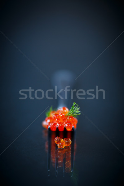 Rouge caviar fourche noir alimentaire groupe Photo stock © Peredniankina
