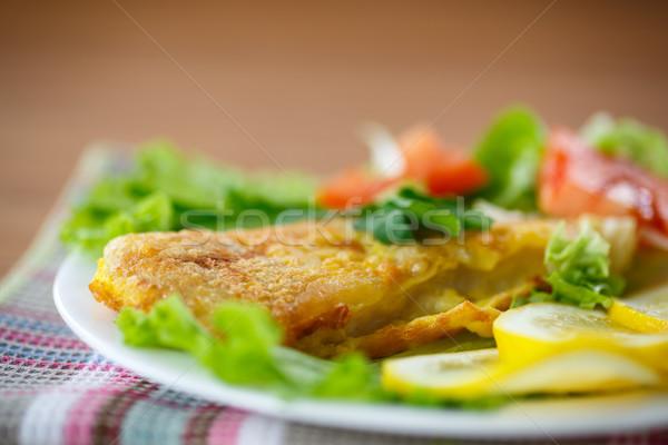 Stock fotó: Hal · sült · tányér · saláta · citrom · étel
