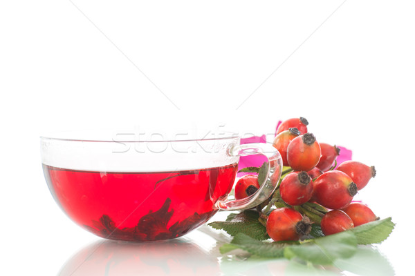 Té taza caliente aumentó blanco Foto stock © Peredniankina