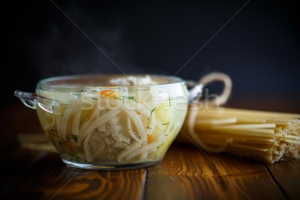 çorba makarna köfte ahşap masa gıda ahşap Stok fotoğraf © Peredniankina